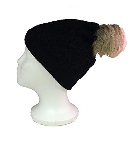 Women's Premium Faux Fur PomPom with Warm Fur Lining Knitted Slouchy Beanie Hat - Black (Burgundy Felt Bonnet)