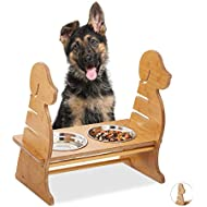 Relaxdays 2 Stainless Steel Bowl 500ml Dog Design Adjustable Height Bamboo Effect Natural, 29,5 x 43,5 x 40 cm