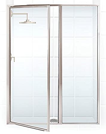 coastal shower doors legend series framed hinge swing shower door with inline panel in clear glass