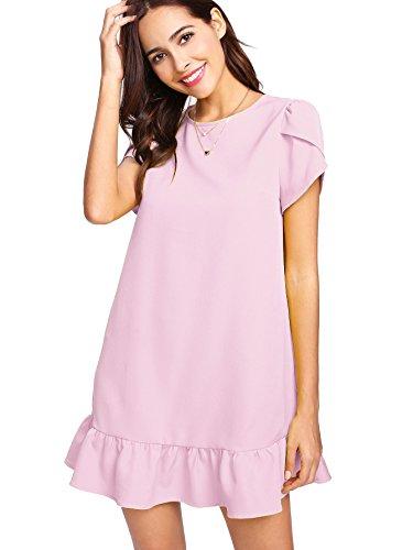 Verdusa Women's Round Neck Petal Short Sleeve Ruffle Hem Tunic Dress Pink ()
