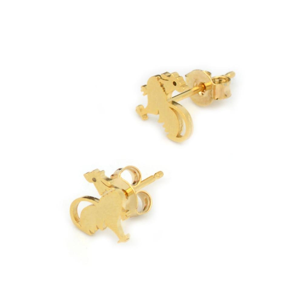 Chicken and Rooster Brass Stud Earrings Minimalist Geometric Genuine Gold Plated Jewelry BN116-E
