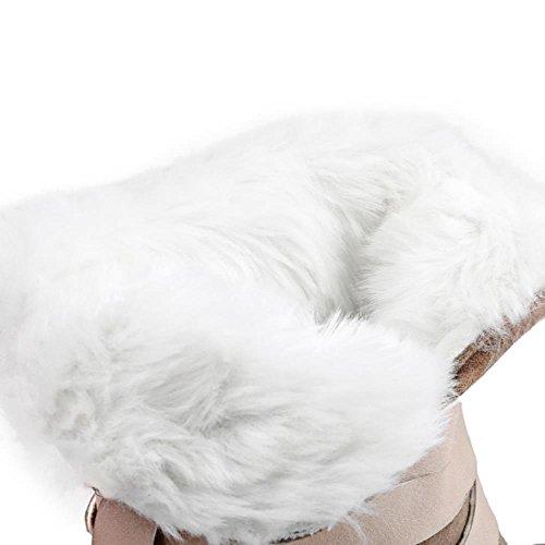 COOLCEPT Damen Strappy Warm gefüttert Winter Fur Boots Stiefeletten Winterschuhe Orange