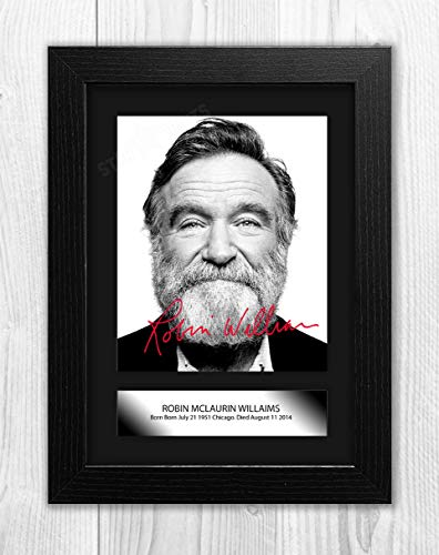 (Engravia Digital Robin Williams (2) Reproduction Autograph Signed Poster Photo A4 Print (Black Frame))