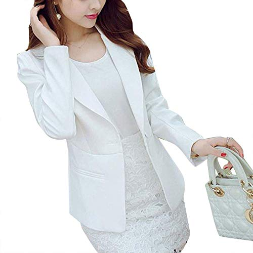 Giaccone Business Tailleur Bavero Moda Colore Puro Donna Giacca Lunga Blazer Outwear Bianca Manica Da Autunno Casual Giovane Button EYYwrO