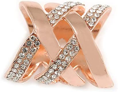 30mm Tall Avalaya Fancy Womens Clear Crystal Scarf Ring Clip Slide in Rose Gold Tone Metal