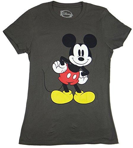 Disney Mickey Mouse Classic Standing Akimbo Juniors T-shirt (Medium,Charcoal)