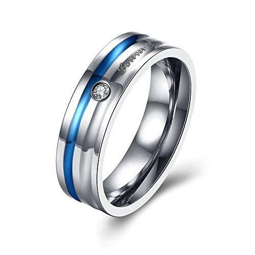 Men Wedding Band ''Forever Love'' For Him Husband Boyfriend Bridal Set Stainless Steel by Mrsrui