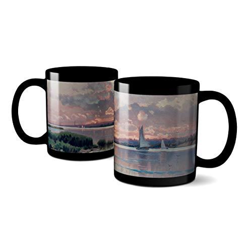 WhatnotGems Sunset Shinnecock Bay LandscapeMug (Black, 11 ounces)