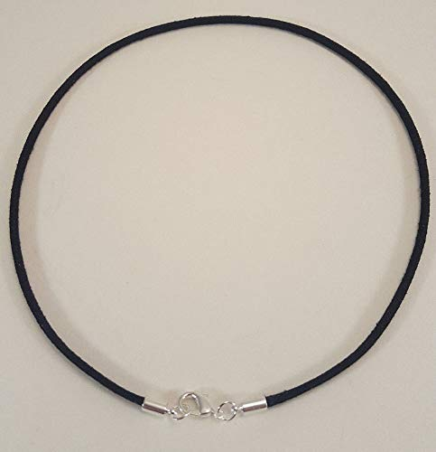 Black Suede Lightweight Surfer Choker Necklace 3mm with Silver Lobster Clasp Unisex Length 16