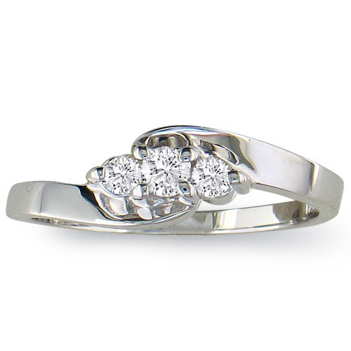1/10ct Three-Stone Diamond Promise Ring in 10K White Gold (sizes 4 - 9) SuperJeweler H051012 10WSZ 7