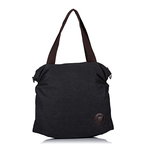 Casual Mujer Lona Compra Bolsa Negra Tela AMYHOME de de Bolsa Viaje de Bolso para Simple Mano q0EfwS