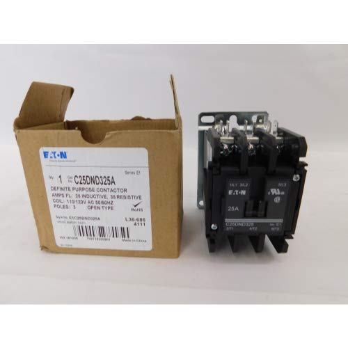 480vac Coil Single Pole Contactor (Eaton C25DND325A Definite Purpose Contactor, 50mm, 3 Poles, Screw/Pressure Plate, Quick Connect Side By Side Terminals, 25A Current Rating, 2 Max HP Single Phase at 115V, 7.5 Max HP Three Phase at 230V, 10 Max HP Three Phase at 480V, 120VAC Coil Voltage)