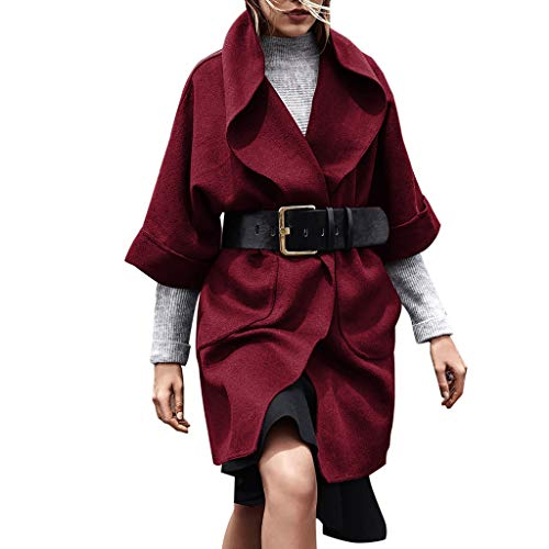 TnaIolr Women's Open Front Long Sleeve Waterfall Collar Trench Coat Outwear Jacket Coat with Big Pockets