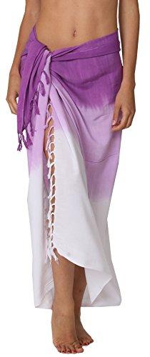 INGEAR Swimwear Long Batik Sarong Multi Wear Pareo Canga Swimsuit Wrap Cover Up (One Size, Purple - Coconut Water Purple