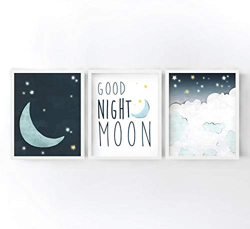 - Good Night Moon Nursery Art Prints Set of 3 - Navy, Yellow, and Grey Moon and Stars Illustrations