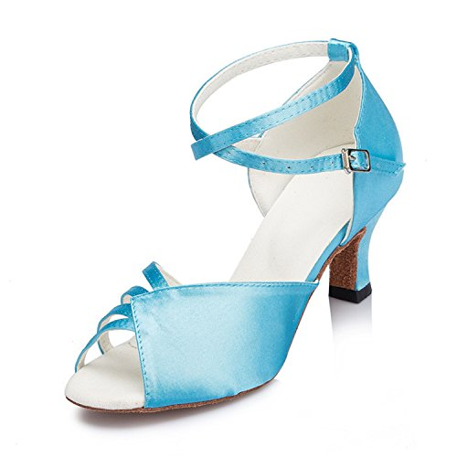 Salsa Shoes Dance Blue Chunky Shoesland Tango Women's Toe W159 Dance Peep Latin Buckle Heel Ballroom awx10Oqw