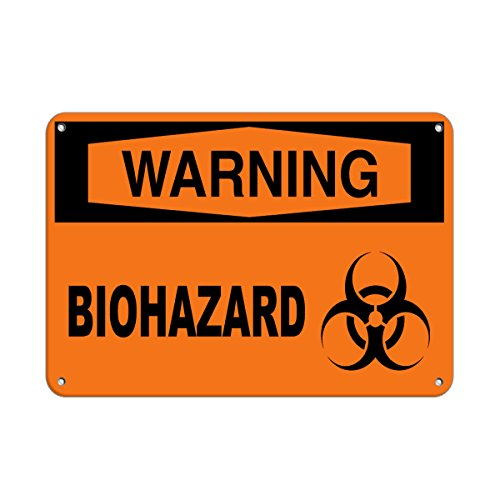 Warning Biohazard Hazard Sign Hazard Labels Aluminum Metal Sign 7 in x 10 in Custom Warning & Saftey Sign Pre-drilled Holes for Easy mounting (Budweiser Tin Sign Label)