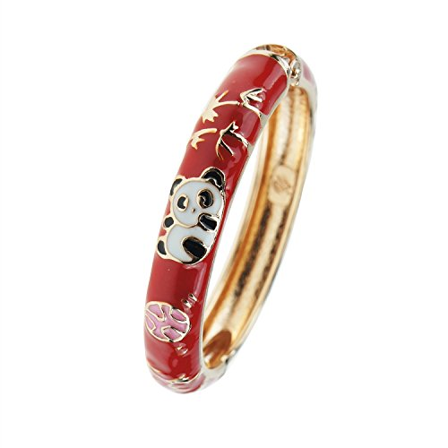 UJOY Childrens Bracelet Beautiful Cloisonne Panda Enameled Gold Hinge Open Bangles Bracelets Jewelry for Girls Gifts 55D01 red