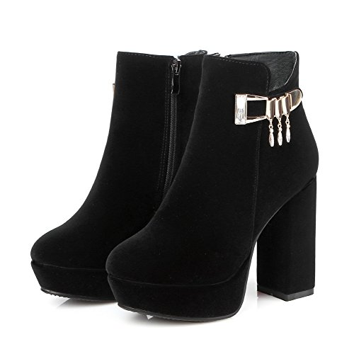 Frosted Zipper Closed AmoonyFashion Ankle Women's Heels Black high Toe Round Boots High fpHqZqAwx