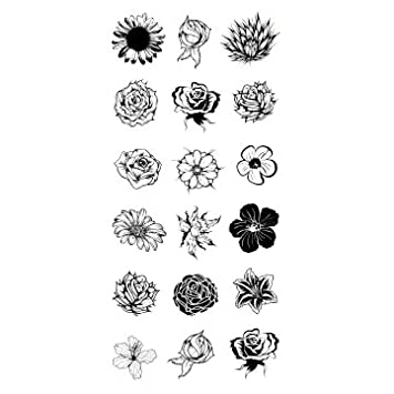 Amazoncom Oottati Assorted Temporary Tattoos Sunflower Rose Beauty
