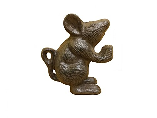 Handcrafted Model Ships Cast Iron Mouse Door Stopper 5'' - Door Stopper Decorative - Home Decor Animal by Handcrafted Nautical Decor