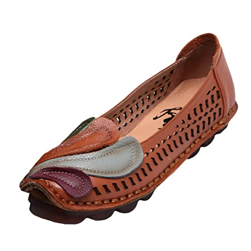 Mordenmiss Women's New Spring Summer Handmade Flower Pattern Leather Flat Shoes Moccasins Style 1 Hollow Khaki 37