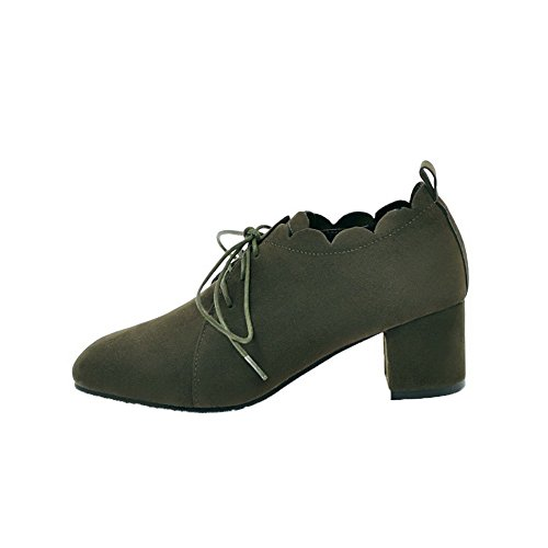 VogueZone009 Women's Round-Toe Kitten-Heels Soild Lace-up Pumps-Shoes Green M5NIaC