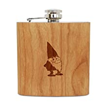Garden Gnome 6 Oz Wooden Flask (Cherry), Stainless Steel Body, Handmade In Usa