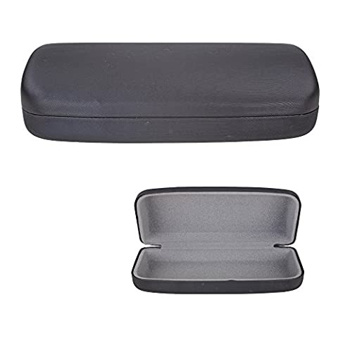 Clamshell Hard Shell Glasses Case - Durable Protective Holder for Sunglasses and Eyeglasses - Deluxe Brushed Finish with Soft Interior – Large - Classic Black – by (Aluminum Case Sunglasses)