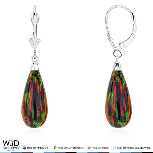 14k Gold Teardrop Bezel - 14k White Gold Simulated Fire Opal Teardrop Dangle Leverback Earrings 1.5