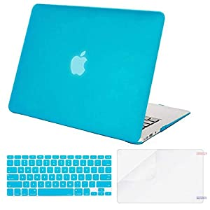 MOSISO Plastic Hard Case & Keyboard Cover & Screen Protector Only Compatible MacBook Air 13 Inch (Models: A1369 & A1466, Older Version Release 2010-2017), Aqua Blue