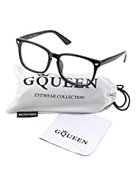 GLASSES QUEEN 201582-Vintage Inspired Classic Clubmaster Nerd Wayfarers Clear Lens Glasses,Bright Black