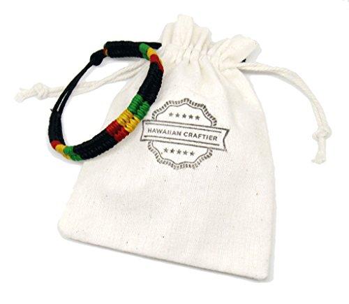 Rasta Plaided Braided Cotton Bracelet - Jamaican Bob Marley Adjustable Wristband - Hippie Friendship Style for Men Women