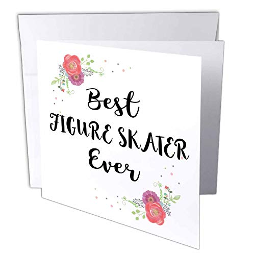 3dRose InspirationzStore - Love Series - Floral Best Figure Skater Ever Watercolor Pink Flowers ice Skating - 12 Greeting Cards with envelopes (gc_317262_2)