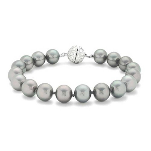 Bling Jewelry 12mm Grey Simulated Pearl Wedding Bracelet Rhodium Plated