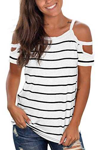 Jescakoo Summer Funny T Shirts for Womens Cold Shoulder Short Sleeve Tops White S]()