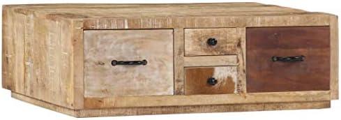 Opruiming Tidyard salontafel hout   salontafel met 4 laden 90 x 60 x 30 cm van massief mangohout YmyUEcd