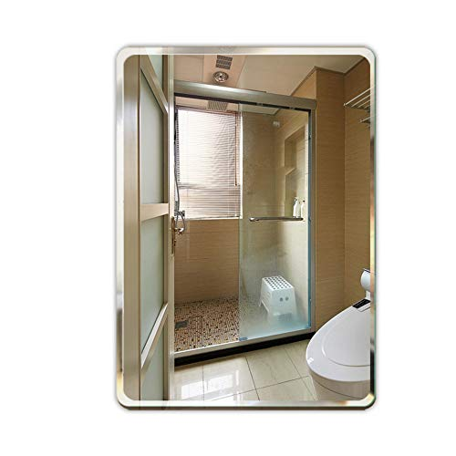 Bathroom Mirror, Rounded Corner Frameless Mirror Punch Free Simple Makeup Mirror Bathroom - Lights With Shaver And Socket Bathroom Mirrors Cabinet Corner
