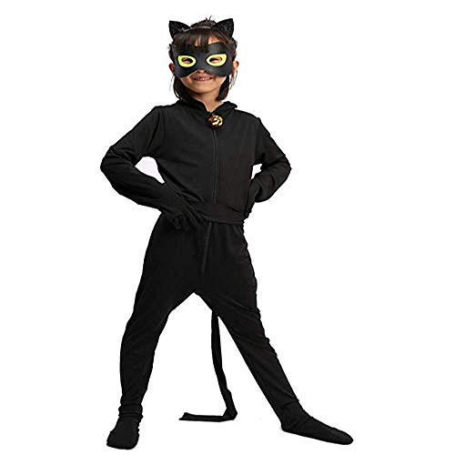 Cat Noir Costume Jumpsuit Set Cosplay Ladybug Marinette Costume for Boy Role Playing Children's Party Costume (M) ()