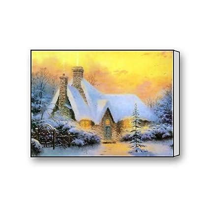 Amazon.com: Thomas Kinkade Christmas Tree Cottage Canvas Wall Art ...