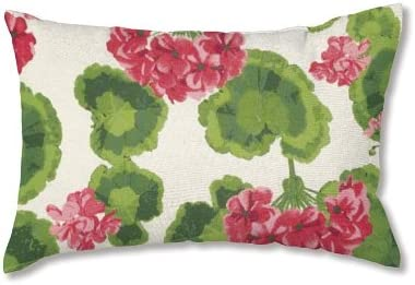Plow Hearth 35674-13 Weather-Resistant Outdoor Classic Lumbar Pillow, Geranium