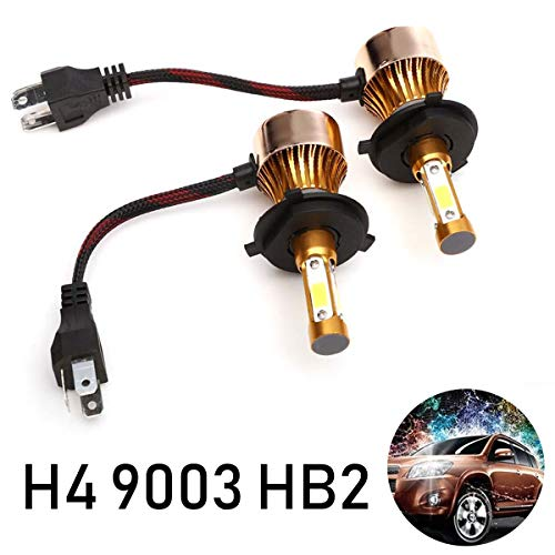 LED H4 9003 HB2 Headlights Bulbs for High Low Beam 6000K 20000 Lumens White High Low Beam Bright 4 Side COB Chips Car Headlamp Hi/Lo Conversion Kit (Pack of 2, 2 Year Warranty)