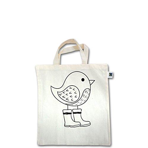 Tiermotive Kind - Süßer Vogel mit Gummistiefeln - Unisize - Natural - XT500 - Fairtrade Henkeltasche / Jutebeutel mit kurzen Henkeln aus Bio-Baumwolle
