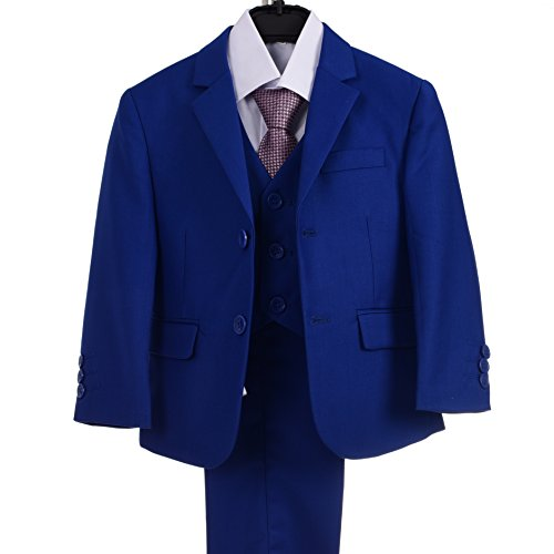 Dressy Daisy Boys Formal Dress Suits 5 Pcs Set Modern Fit Wedding Outfit Dresswear Size 5 Royal Blue Daisy Wedding Cover