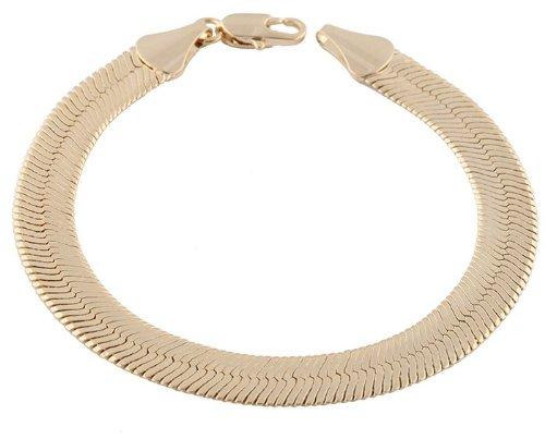 2 Pieces of Goldtone 9mm 8 Inch Herringbone Chain Bracelet