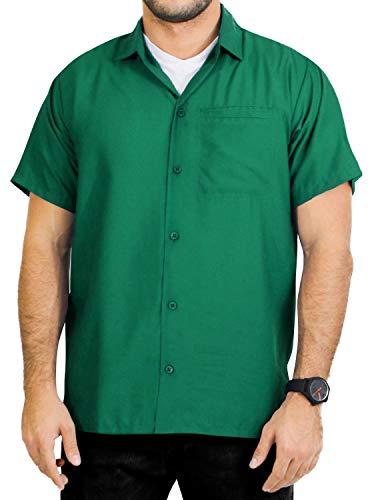 (LA LEELA Hawaiian Shirt for Men Plain Swimsuit Green_AA178 6XL   Chest 68