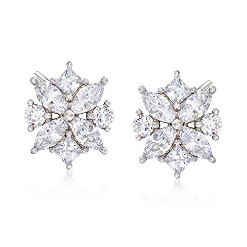 Ross-Simons 1.90 ct. t.w. Multi-Cut CZ Floral Earrings in Sterling Silver