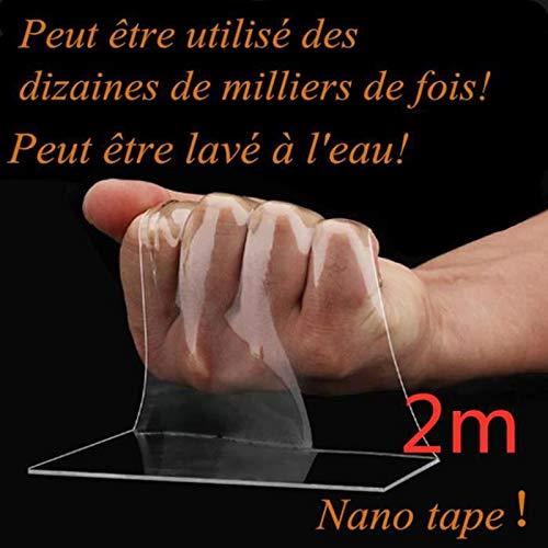 nastro gel rimovibile lavabile tracciante per uso interno ed esterno Cofemy Nastro biadesivo Nano Magic Tape nastro adesivo riutilizzabile da 2 m