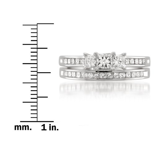 14k White Gold Princess cut Three Stone Diamond Bridal Set Wedding Ring (1 cttw, I J, I1 I2)