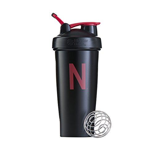 BlenderBottle Classic NCAA Collegiate Shaker Bottle, University of Nebraska - Black/Red, 28-Ounce